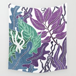 Assortment Of Leaves 2 - Exotic Boho Leaf Pattern - Colorful, Modern, Tropical Art - Blue, Purple Wall Tapestry