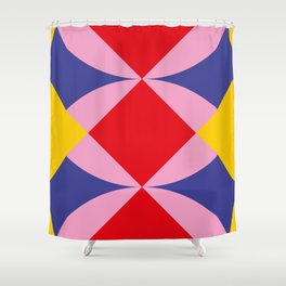 Two fly shaped wrestler's heads intersecating, making a beautiful red square in the center. Shower Curtain