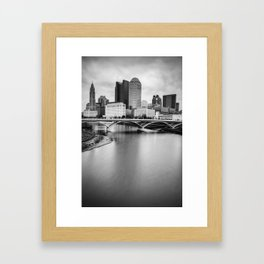 Columbus Skyline Contrast - Black and White Framed Art Print