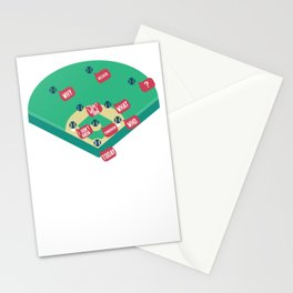 Who's on First? Baseball Diamond Fielding Card Stationery Cards