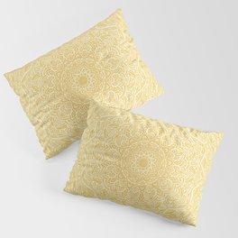 Most Detailed Mandala! Yellow Golden Color Intricate Detail Ethnic Mandalas Zentangle Maze Pattern Pillow Sham