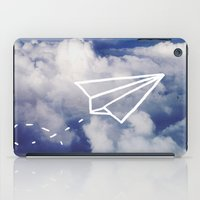 plane iPad Cases featuring Paper Plane by Leah Flores