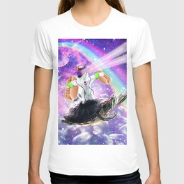 Lazer Rave Space Cat Riding Turtle With Hotdog T-shirt