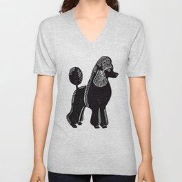 Black Standard Poodle Unisex V-Neck