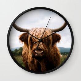 Scottish Highland Cattle in Scotland Portrait II Wall Clock