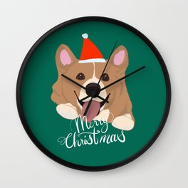 Corgi Christmas, Cute Welsh Corgi X mas deign Wall Clock