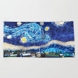 Tardis Art Starry City Night Beach Towel