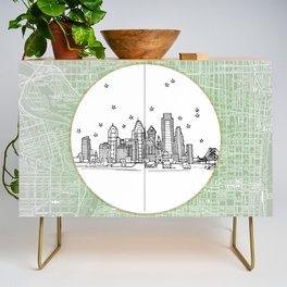 Philadelphia, Pennsylvania City Skyline Illustration Drawing Credenza