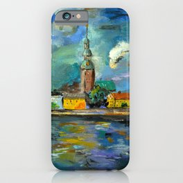 A Night of Color in Riga iPhone Case