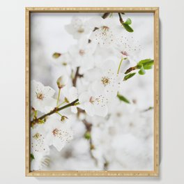 White blooming Serving Tray