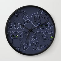 toothless Wall Clocks featuring Toothless  by Magen Works