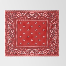 Paisley - Bandana - Red - Southwestern - Boho Throw Blanket