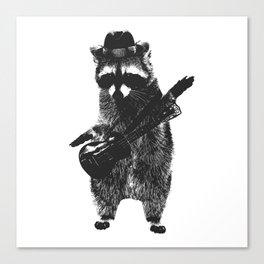 Raccoon wielding ukulele Canvas Print