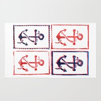 anchors Area & Throw Rugs featuring Abundant Anchors by Isobel Woodcock Illustration