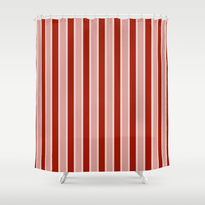 Large White And Dark Salem Red Milk Paint Stripes Shower Curtain