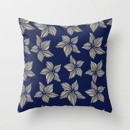 Blue tone flowers Throw Pillow