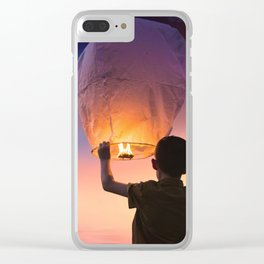 Boy Releasing Chinese Lanterns to the Sky Clear iPhone Case