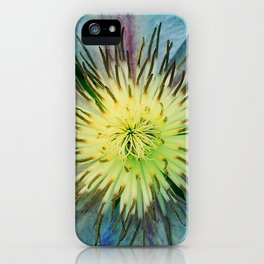 Aqua-Blue Flower With Lilac Accents iPhone Case