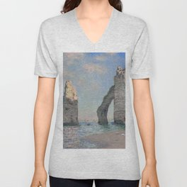 The Rock Needle and the Porte d'Aval by Claude Monet Unisex V-Neck