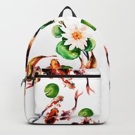 Koi Fish in Pond, Feng Shui Backpack