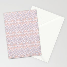 Vintage blush pink blue white cross stitch pattern Stationery Cards
