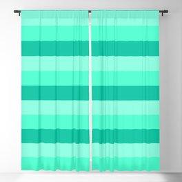 Teal, Sea foam Green, & Mint Medium Stripes Blackout Curtain