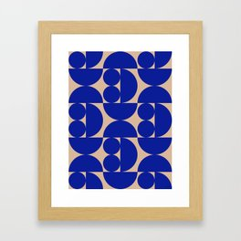 Grapes and apple slices (royal blue) Framed Art Print