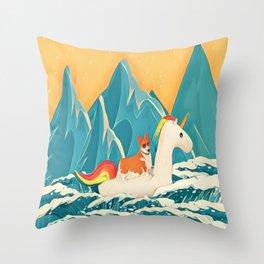 Corgi and the rainbow unicorn Throw Pillow