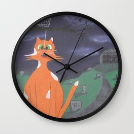 Scaredd Cat Wall Clock