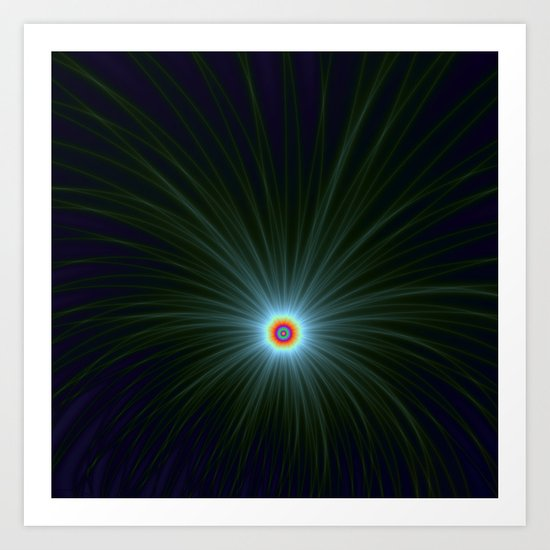 Green and Blue Color Explosion Art Print