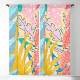 Modern Jungle Plants - Bright Pastels Blackout Curtain