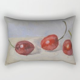 Red Cherries Painting Rectangular Pillow