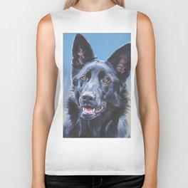 black German Shepherd dog portrait art from an original painting by L.A.Shepard Biker Tank