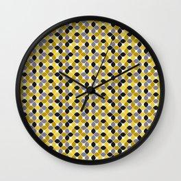 Yellow grey navy blue mustard spot seamless pattern #society6 #decor #buyart #artprint Wall Clock