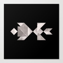 Tangram Fish in love - black and white Canvas Print