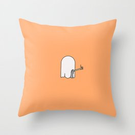 Spooky Skeleton Ghost - Thumbs Up Throw Pillow