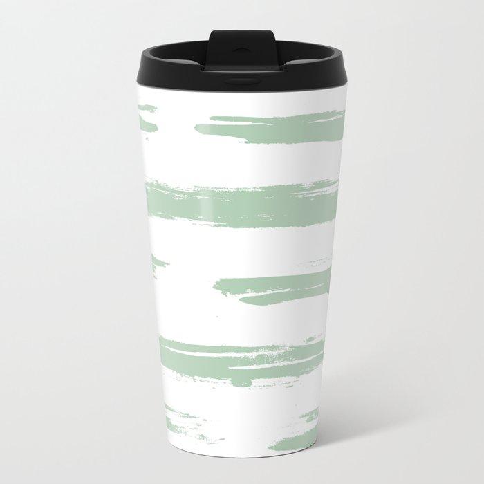 Swipe Stripe Pastel Cactus Green and White Metal Travel Mug