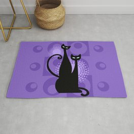 Purple Paradise Atomic Age Black Kitschy Cats Rug