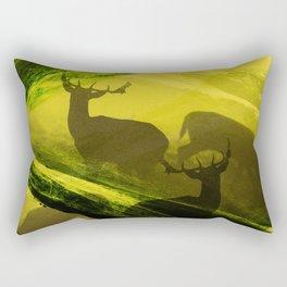 Oh Deer Complex Green Rectangular Pillow