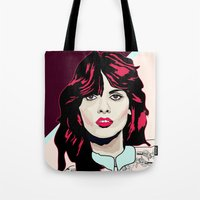 80s Tote Bags featuring 80s Pink by Anna McKay