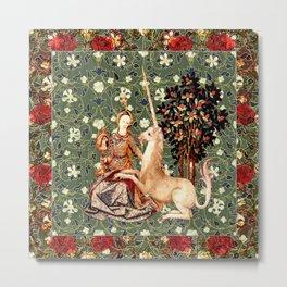 Lady And Unicorn (Green) Metal Print