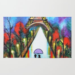 Love In Paris Romantic Painting Valentine Giftart Rug