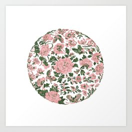 Peonies Flowers and Butterflies pattern Art Print