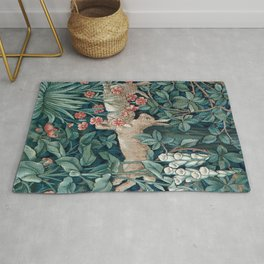 William Morris Forest Rabbits and Foxglove Greenery Rug