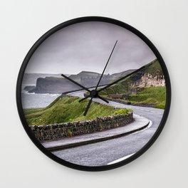 Windy road,Dunluce castle,Ireland,Northern Ireland Wall Clock