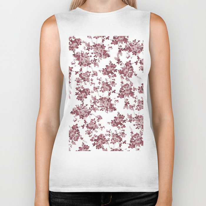 Elegant pastel pink marsala red roses floral pattern Biker Tank