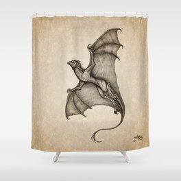 """Hurricane Wyvern"" by Amber Marine, Ink & Graphite Dragon Art, (Copyright 2016) Shower Curtain"