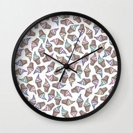 Summer Ice Cream Swirly Cones Watercolor Pattern Wall Clock