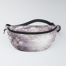 Magnolia Pink Flowers and Sun Rays Fanny Pack