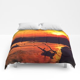 African River Sunset Leopard Comforters